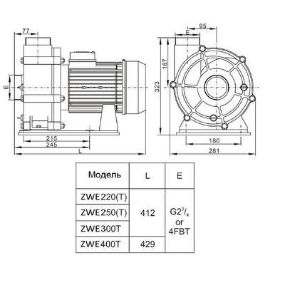 Насос без префильтра 50m3/h*10m, 380V, 3 фазы ZWE300T AquaViva