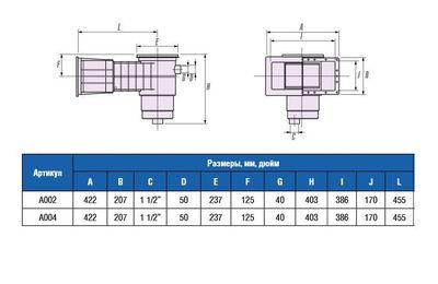 Скиммер для бетонного бассейна, широкое удлиненное отверстие A-002 IML