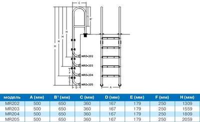 Лестница усиленная 5 ступеней с накладкой люкс, на узкий борт MRO205 PoolKing