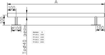 Поручень стеновой прямой 2.0 м, нерж. сталь AISI-304 Xenozone