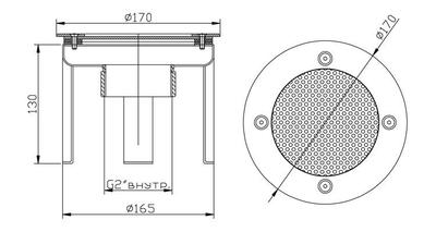 Водозабор с сетчатой крышкой д.165, плитка, нерж. AISI-304 Xenozone