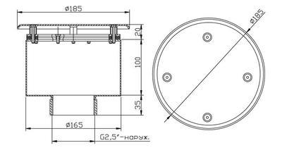 Водозабор с антивихр. крышкой д.165х100, плёнка, нерж. AISI-304 Xenozone