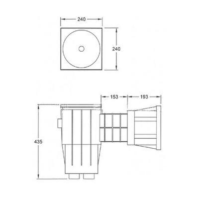 Скиммер под бетон YAEH041 Wide Fiberpool