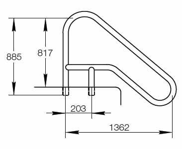 Поручень FX-02 с закл. деталями AlSI 316