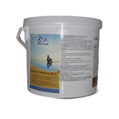 Кемохлор-Т медленнорастворимый стабилизированный хлор 90% в таблетках 20гр.,  5 кг