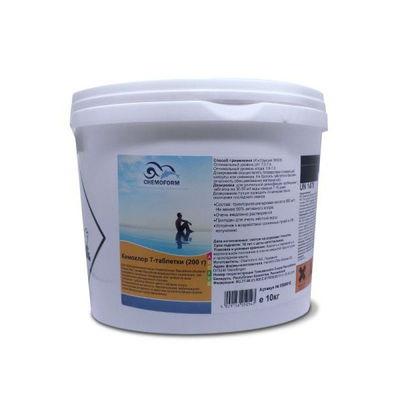 Кемохлор-Т медленнорастворимый стабилизированный хлор 90% в таблетках 200гр., 10 кг