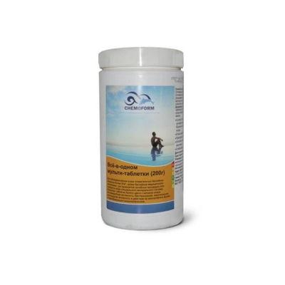 Многофункциональные 3 в 1 медленнорастворимые стаб. таблетки хлора 80%,  200гр.,  1 кг