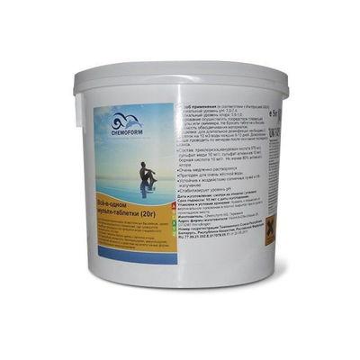 Многофункциональные 3 в 1 медленнорастворимые стаб. таблетки хлора 80%,  20гр.,  5 кг