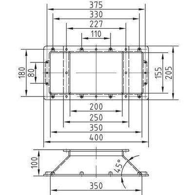 Удлинение горловины скиммера на 100 мм, сторона всасывания шириной 350 мм, бронза
