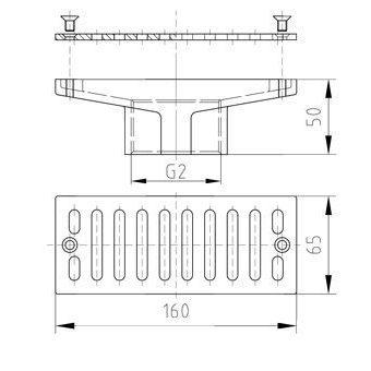 "Всасывающая форсунка переливного желоба, 160 х 60 мм, 2"" вн.р., бронза/накладка-NiSn AllFit"