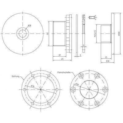"""Форсунка подающая стеновая  2"""" н.р., длина 40 мм, с г/м отверстием 18 мм, для плен. басс., бронза/не"""