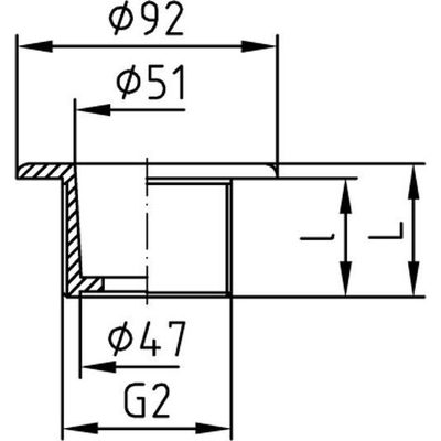 """Форсунка донного пылесоса 2"""" н.р., длина 70 мм, для бет. басс. NiSn, брона/нерж.сталь"""
