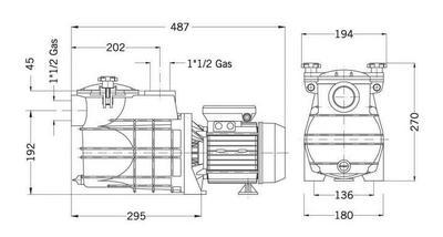 Насос c префильтром 7,9 м3/час, 0,37кВт, 220 В Mini.2-50M Bombas PSH