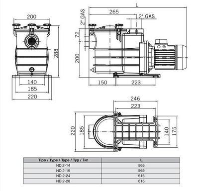 Насос c префильтром 24,8 м3/час, 1,5кВт, 380В ND.2-28T 2HP Bombas PSH