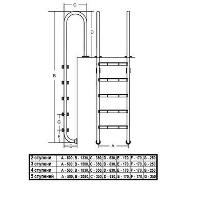 Лестница MURO 4 ступени Fiberpool