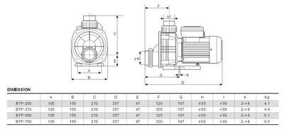 Насос без префильтра 11 м3/час, 220 В BTP-750 Glong