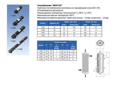 Теплообменник вертикальный 120 кВт MAXI-FLO