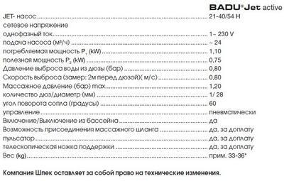 Противоток навесной BADU Jet Active V2 20 м3/ч, 220В