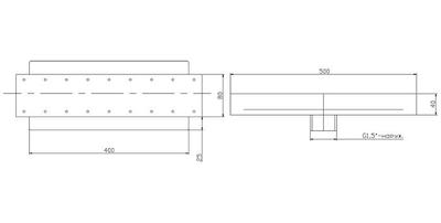 Аэромассажный элемент 500х80 мм, плитка, нерж. AISI-304 Xenozone