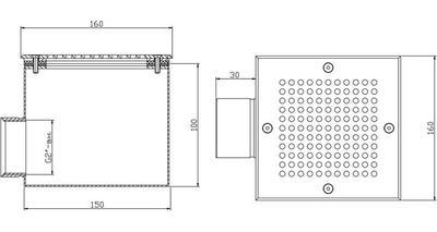 Донный слив квадратный 150х150х100 мм, плитка, нерж. AISI-304 Xenozone