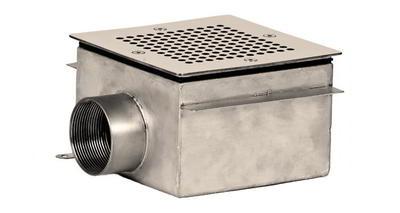 Донный слив квадратный 150х150х100 мм, пленка, нерж. AISI-304 Xenozone