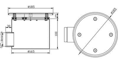 Донный слив с антивихревой крышкой 165х100мм, плёнка, нерж. AISI-316 Xenozone