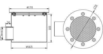 Донный слив круглый сетчатый 165х100 мм, пленка, нерж. AISI-304 Xenozone