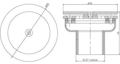 """Форсунка донная рассеивающая д.95 мм, пленка, 1 1/2"""" НР, AISI-304 Xenozone"""
