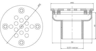 "Форсунка донная, д. 90 мм, плёнка, 1 1/2"" НР, AISI-316 Xenozone"
