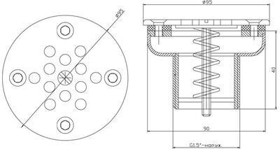 """Форсунка донная рассеивающая д.90 мм, пленка, 1 1/2"""" НР, AISI-304 Xenozone"""