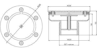 "Форсунка донная регулируемая д. 120 мм, плёнка, G2"" НР, AISI-304 Xenozone"