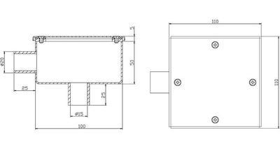 Коробка распаячная 110х110х50 мм, нерж.сталь AISI-304 Xenozone