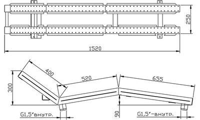 Лежак аэромассажный двухполосный, пленка, нерж. AISI-304 Xenozone