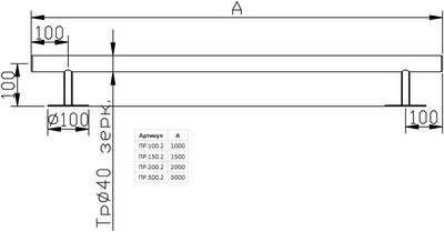 Поручень стеновой прямой 1.5 м, нерж. сталь AISI-304 Xenozone