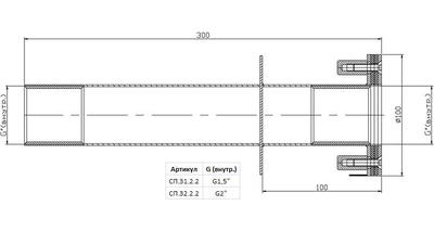 """Стеновой проход 300 мм, пленка, 2"""" ВР, AISI-304 Xenozone"""