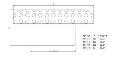 """Водозабор д.250, плитка, G2,5"""" НР нерж. AISI-304 Xenozone"""