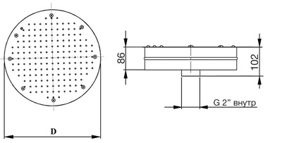 Плато аэромассажное круглое D=240 мм Аквасектор (под бетон)
