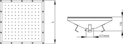 Плато аэромассажное квадратное 600х600 мм Аквасектор (универсал.)