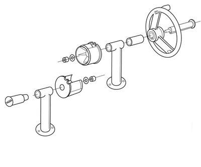 Наматывающее устройство с фланцевыми суппортами и телескопической штангой: 3,7 – 5,4 м
