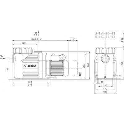 Насос BADU Prime 20, с префильтром, 20 м3/час, 1,40/1,00 кВт, 220В