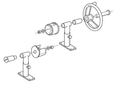 Наматывающее устройство с регулируемыми по высоте суппортами и телескопической штангой: 2,7 - 4,4 м