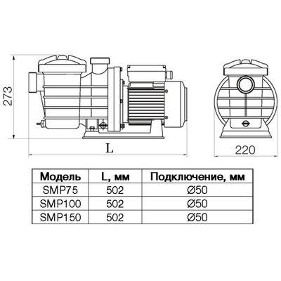 Насос SMP150, с префильтром, 17м3/час, 220В