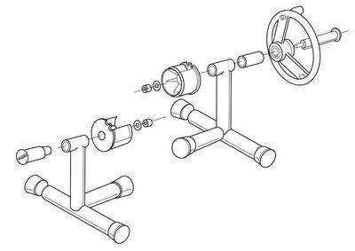 Наматывающее устройство с переносными Т-образными суппортами и телескопической штангой: 2,7- 4,4 м